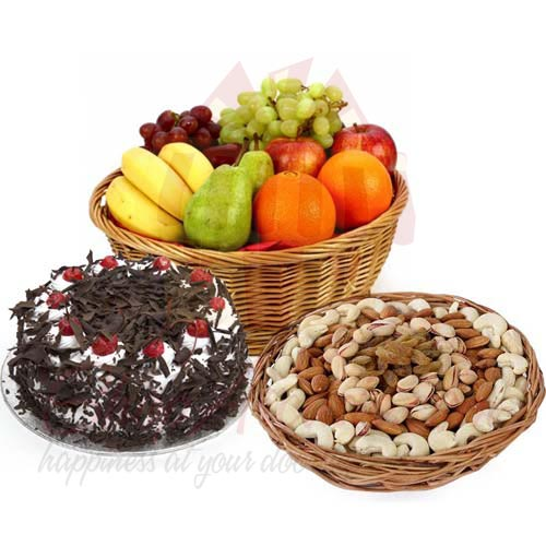Dry-Fresh Fruits And Cake