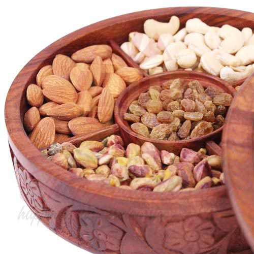 Mix Dry Fruits In A Wooden Box