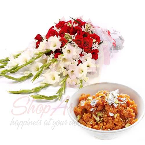 Bouquet With Gajar Ka Halwa