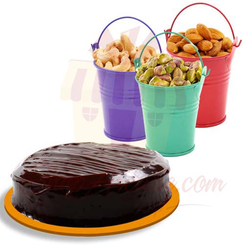Dry Fruit Buckets With Cake