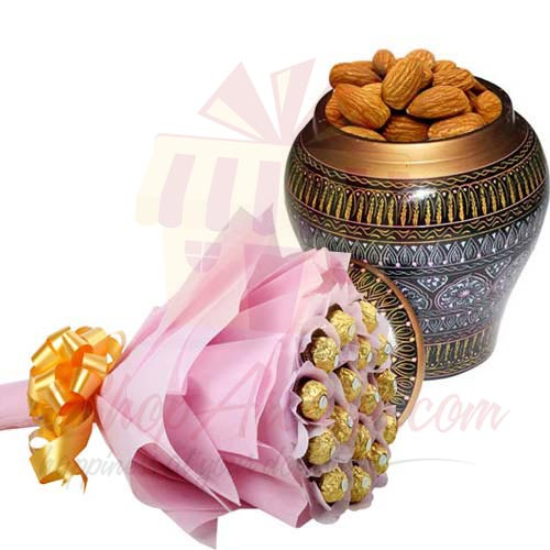Dry Fruit Pot With Ferrero Bouquet