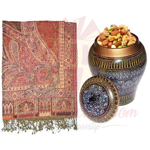 Dry Fruit Pot With Shawl