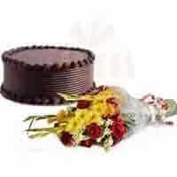 flowers-with-choco-cake