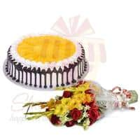 flowers-with-mango-cake