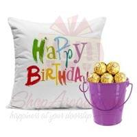 bday-cushion-with-choc-bucket