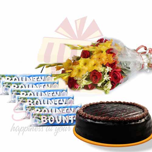 bounty-bars-with-bouquet-and-cake