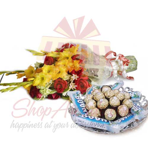 bouquet-with-choco-tray