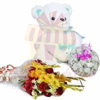 teddy-chocs-and-flowers