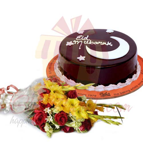 eid-cake-with-bouquet