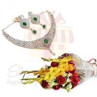 flowers-with-necklace-set