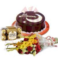 eid-cake-with-ferrero-and-flowers