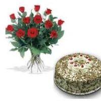 one-dozen-roses-black-forest-cake