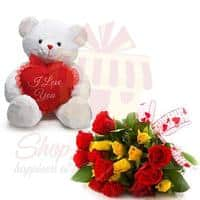 teddy-with-mix-flowers