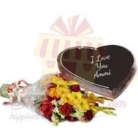 heart-shape-cake-and-flowers-for-mom
