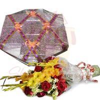 flowers-with-mithai-box-tokra