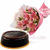 chocolate-cake-with-lilies