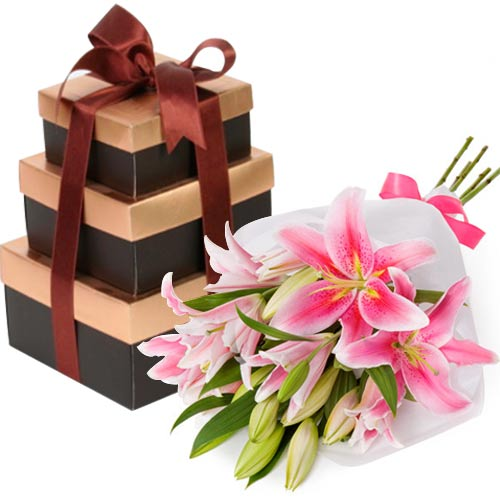 lals-choco-tower-with-lilies